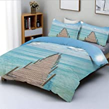 Duplex Print Duvet Cover Set Queen Size,Wood Pier Deck in Asian River with Sky and Sun Summer Travel Theme Art PrintDecorative 3 Piece Bedding Set with 2 Pillow Sham,Blue Brown White,Best Gift For Kid