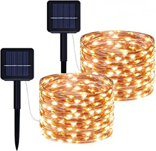 Gladpaws Outdoor Solar Fairy String Lights,2 Pack 33ft 100LED Solar Powered Fairy Lights with 8 Lighting Modes Waterproof ...
