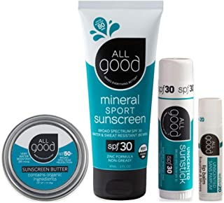 All Good Mineral Sun Care Set - SPF Lip Balm, Sunscreen Lotion & Butter Stick, & Face/Nose/Ear Sunstick - Water Resistant ...