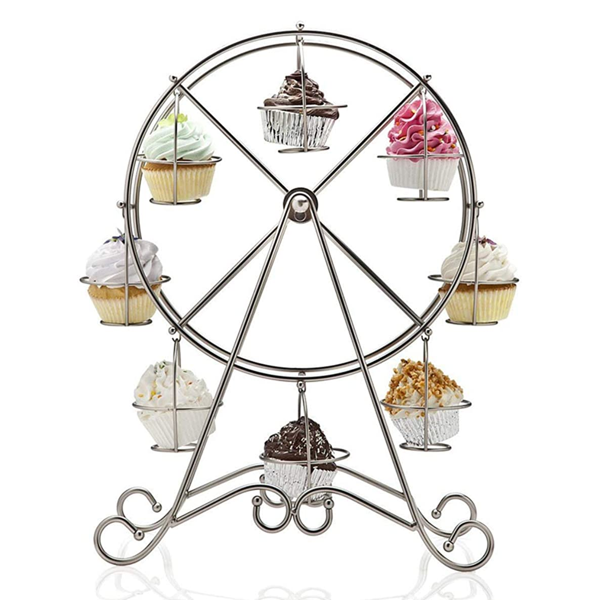 Mary Paxton 8 Cups Cupcake Stand Display,Ferris Wheel Cake Holder Wedding Decoration Mold Fondant Sugar Bow Craft Molds DIY Cake Decorating Stand Stainless Steel Cup Holder Party Shop Rack Decor 17