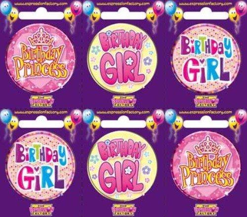 BIRTHDAY GIRL BADGES PK6
