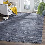 Safavieh Rag Rug Collection RAR121C Handmade Boho Stripe Cotton Area Rug, 8' x 10', Ink / Multi