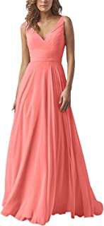 Women's Double V Neck Long Bridesmaid Dress Wedding Evening Dress