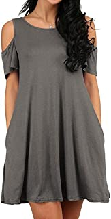 GABREBI Women's Sexy Casual T-Shirt Dresses Cold Shoulder Tunic Plus Size Top Swing Dress Sundresses with Pockets
