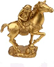 OHAYA Feng Shui Brass Horse and Monkey Set Statue Golden Monkey Riding on Horse Immediate Statue Finish Collectible Figurine Home Gift (Small)