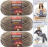 Bernat Softee Chunky Yarn Bundle Super Bulky #6, 3 Skeins, Taupe Grey 28048