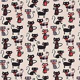 Fabulous Fabrics Cretonne Katze 2 – Karminrot —