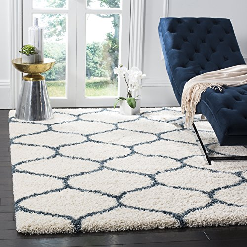 SAFAVIEH Hudson Shag Collection SGH280T Moroccan Ogee Trellis Non-Shedding Living Room Bedroom Dining Room Entryway Plush 2-inch Thick Area Rug, 8' x 10', Ivory / Slate Blue