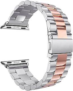 Correa para Apple Watch 38mm,Correas iWatch Rosa Schleife Banda Pulsera de Banda Reloj Apple Acero Inoxidable Metálica Cie...