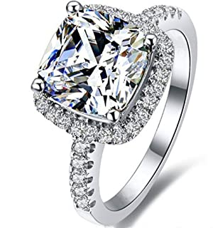 Erllo Cushion 3ct Cubic Zirconia CZ Promise Halo Solitaire Wedding Engagement Ring 925 Sterling Silver