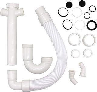 VARIOSAN Flexibler Röhrensiphon 11497, 1 1/2, 2 Siphon-Geräteanschlüsse 1, für Küchenspüle, Spülmaschine und Waschmaschine