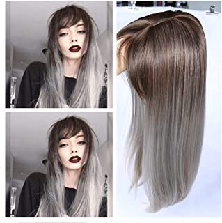 WIGER Ombre Wig with Bangs Brown to Grey long Straight Hair Heat Resistant Synthetic Fiber Party Cosplay Full Wigs for Women Girls