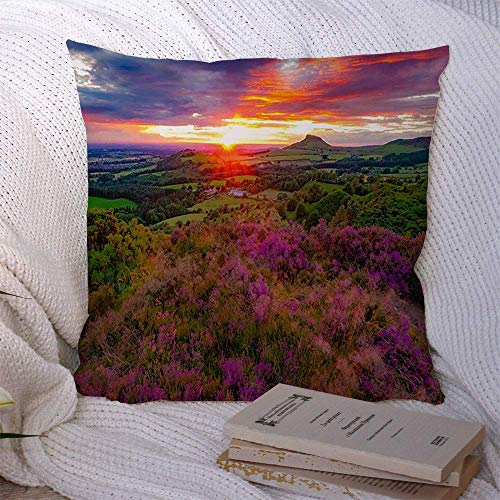 EU Decorative Throw Pillow Covers Flowers Sun Sets Heather Summer Sunlight UK Roseberry Topping Cloudscape Wildlife Land at Cozy Cushion Pillowcases for Couch Sofa Bed Car 18 x 18 Inch