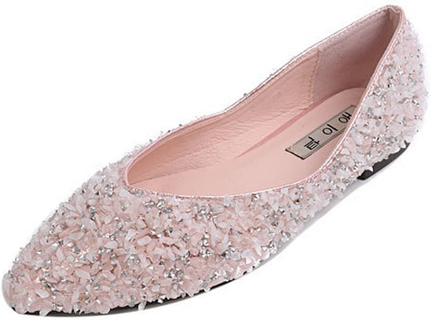 1TO9 Womens Rhinestones Pointed-Toe Low-Cut Uppers Urethane Flats shoes