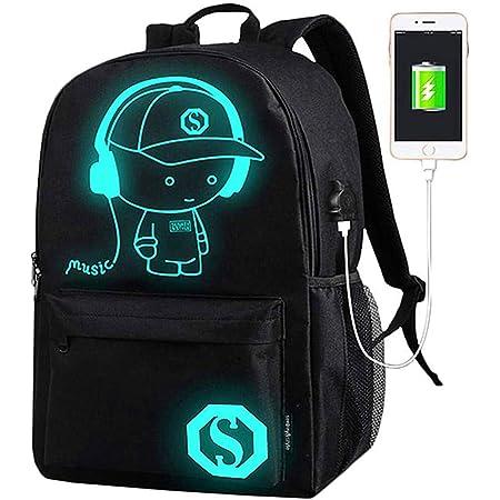 AukCherie Anime Galaxy Mochila Luminosa, Mochila Escolar con Puerto de Carga USB Daypack Ambulante Bolso de Escuela de Hombro Bolsa para portátil para niños y niñas