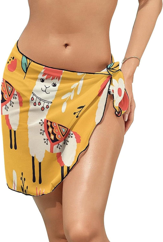 JINJUELS Women Beach Wrap Sarong Cover Up White Lovely Llama Sexy Short Sheer Bikini Wraps