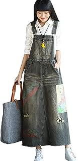 Flygo Women's Elegant Ankle Length Long Denim Jeans Jumpers Overall Pinafore Dress Skirt