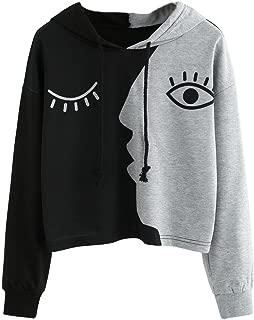 Women Ladies Sweatshirt Hooded Long Sleeve Crop Patchwork Blouse Pullover Tops