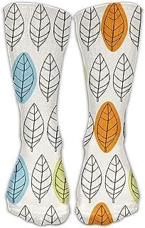 靴下 抗菌防臭 ソックス レディースメンズクラシックソックス葉パターンカラフルなスポーツストッキング30 cmロング靴下1サイズ