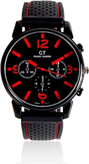 ExcelvanAlloy Case Sport Watch Plastic Band Men's Watches Racing GT Grand Touring Men Watch Cool Sports Gift Watch Quartz Watch 6 Colors (Red)