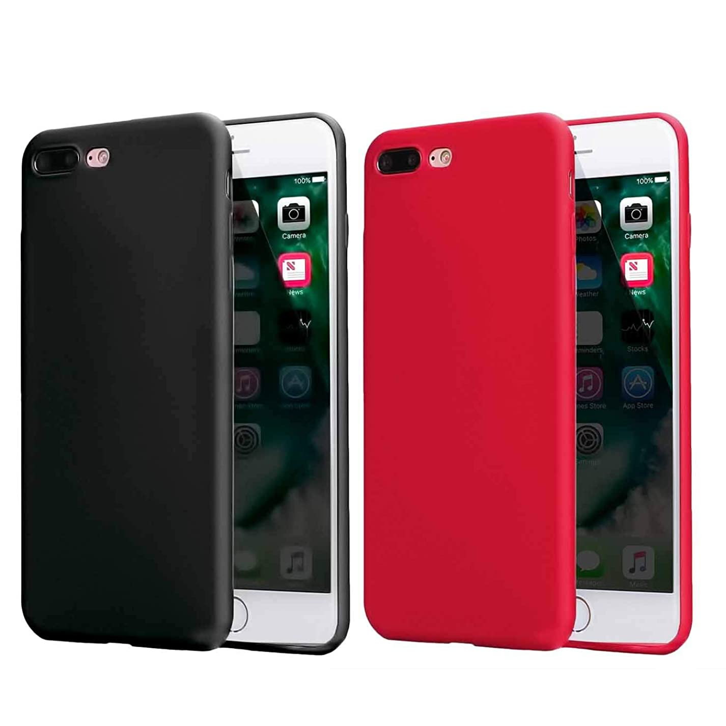 2 Pack Compatible withiPhone 8 Plus Case 2017/iPhone 7 2016 Case,Soft TPU Slim Thin Durable Anti-Scratch Shock-Absorption Resistant Shield Cell Mobile Phone Cover Case,Girls Women Man Boys,Black+Red hgu835013468962