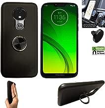 Compatible with Moto G7 Optimo-Maxx Case (6.2) / Motorola Moto G7-Power Case/Moto G7-Supra Case, Car Mount +Chrome Ring Stand-Holder (Ring Black +Magnetic Car Mount)