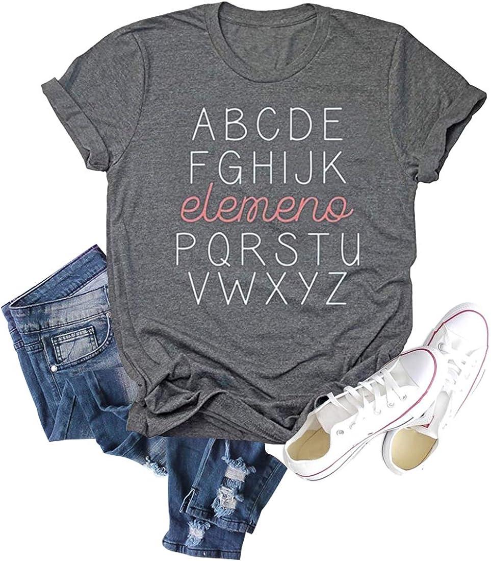 Chulianyouhuo Women ABC Letters Elemeno Teacher Shirts Funny Sayings Casual Short Sleeve Tee Tops