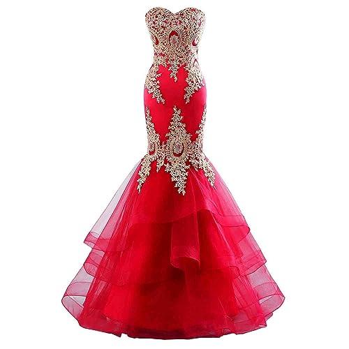 Red Mermaid Prom Dress: Amazon.com
