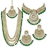 Aheli indische Hochzeit Kundan Perlen Braut Lange Choker Halskette Ohrringe mit Maang Tikka traditionelle Schmuck-Set für Frauen (grün)