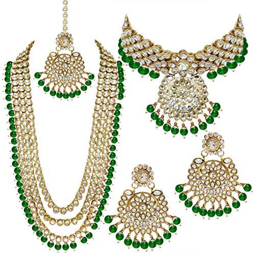 Aheli Collier ras du cou élégant avec perles pour demoiselle d'honneur Kundan et bijoux traditionnels indiens Maang Tikka (vert)