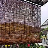Retro Dekorative Bambusrollos,Carbonisierung Rollo Bambus,Fenster-Rollo Bambus,Reed Vorhang,Raffrollo Holzrollo,Wärmeisoliert,Atmungsaktiv,für Haus und Garten (W130xH150cm/51x59)