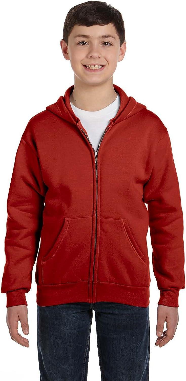 Hanes Youth 78 Oz EcoSmart 50/50 Full-Zip Hood - Deep Red - XS - (Style # P480 - Original Label)