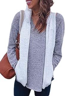 UUYUK Women Sherpa Fleece Stand Collar Zip Up Sleeveless Gilet Vest Waistcoat