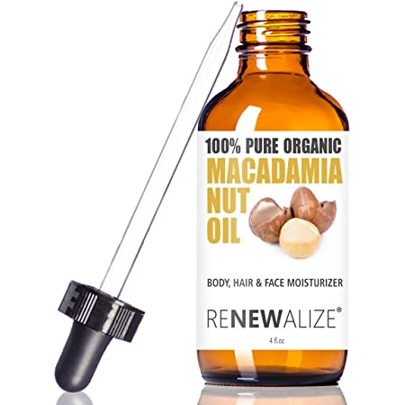 Amazon Com Organic Macadamia Nut Oil Facial Moisturizer For Dry Skin By Renewalize In Large 4oz Glass Bottle Cold Pressed And Unrefined Face Oil For The Oil Cleansing Method Beauty