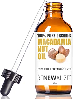 Renewalize Organic Macadamia Nut Oil in Large 4oz Glass Bottle | Cold Pressed and Unrefined Deep Conditioning Natural Hot Oil Hair Treatment for Controlling Frizz | Dry Skin Body Moisturizer