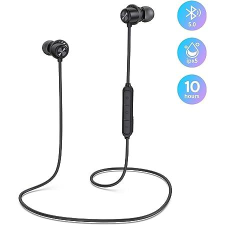 【ワイヤレスイヤホン Bluetooth 5.0 10時間連続再生】Hi-Fi 自動ペアリング ipx5防水 低音重視 軽量 両耳通話 マイク付き スポーツワイヤレスイヤホン ブルートゥースイヤホン iPhone/Android/pc/ipad