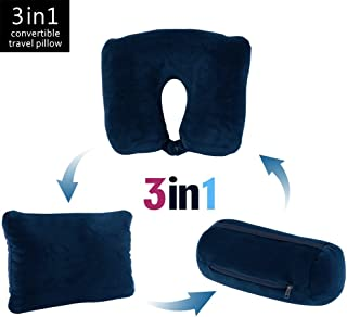 JML 3 in 1 Travel Neck Pillow - Ultra Soft Neck Support Pillow with Microbeads for Business Airplane Travel and Home (Navy)