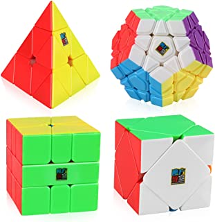 D-FantiX Speed Cube Bundle, Moyu Mofang Jiaoshi Megaminx Pyramid Skewb Square-1 Cube Stickerless Non-Cubic Cubing Classroom Gift Box