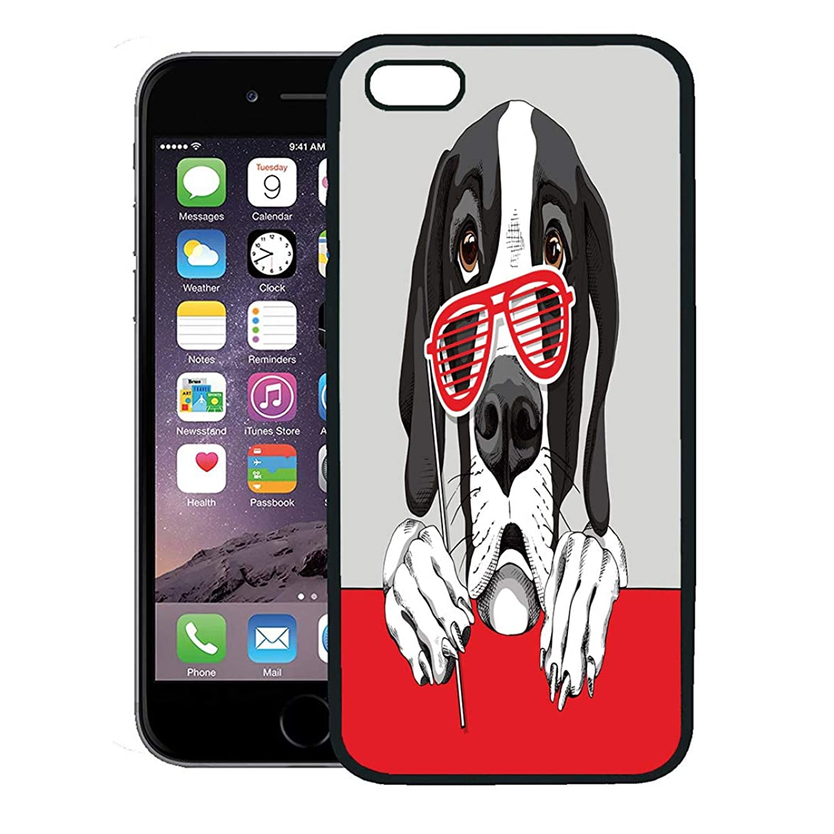 Semtomn Phone Case for iPhone 8 Plus case Cover,Animal Great Dane Dog Red Grill Glasses Booth Birthday Black Bow,Rubber Border Protective Case,Black