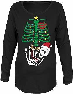 Old Glory Christmas Tree Baby Skeleton Cookies Black Maternity Soft Long Sleeve T-Shirt