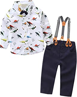EMAOR Baby Boys' Dinosaurs Print Suspender Outfit 3 Month - 24 Month