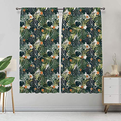 Green Blackout Curtains, Hawaiian Summer Aloha Pattern with Tropical Plants and Hibiscus Flowers Window Coverings 2 Panels Set, Each Panel 42'Wx 84'L Green Dark Teal Orange