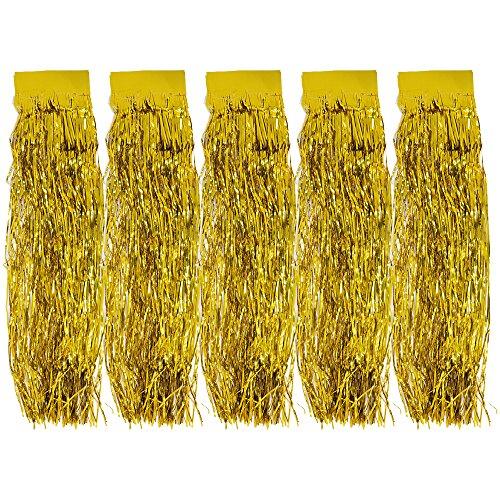 com-four® 5X Lametta - Lametta Goldfarbene Girlande für Weihnachten - Christbaumschmuck für den Tannenbaum - 47 cm