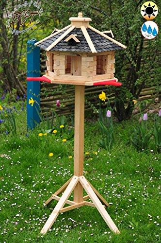 PREMIUM Vogelhaus mit Landebahn/Anflugbrett, Massivholz,wetterfest, mit Ständer/mit Standfuß Silo Vogelhäuschen, aus Holz schwarz anthrazit SGA40atMS