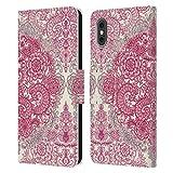 Head Case Designs Licenza Ufficiale Micklyn Le Feuvre Rosa Crema E Malva Pattern Floreali Cover in Pelle a Portafoglio Compatibile con Apple iPhone X/iPhone XS