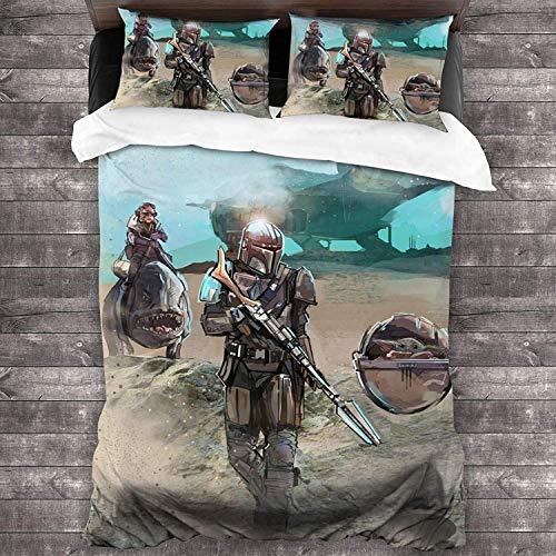 Juego de ropa de cama The Mandalorian, diseño de dibujos animados en 3D, suave y cómodo, juego de 3 piezas de microfibra suave (mandalorian-2, 200 x 200 cm + 80 x 80 cm x 2)