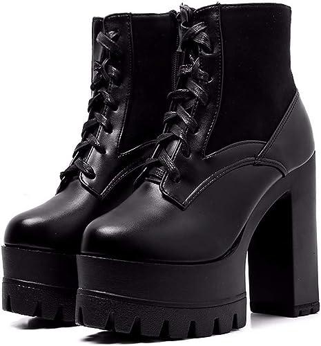 HBDLH Chaussures pour Femmes Haut 13Cm Court Bottes Super Talon Haut épaisse Talon Les Dingxue épais Bas Ma Plate-Forme.
