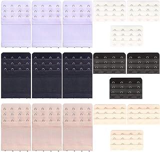 6 Pcs Women's Bra Extender 2 Hooks/ 3 Hooks/ 4 Hooks Elastic Bra Extension Strap, Bra Lingerie Extenders, White/Black/Beige