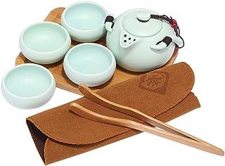 ティーセット 急須 湯呑みセット 茶器揃 陶磁茶具セット 箱入り お茶出し 煎茶碗 ×4個(青)