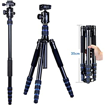 Color : Black, Size : One Size BWAM-elck Travel Tripod Monopod 62.8//159.5cm Tripod Monopod-Camera Tripod AluminumTravel Tripod for DSLR//SLR Camera Ideal for Travel and Work